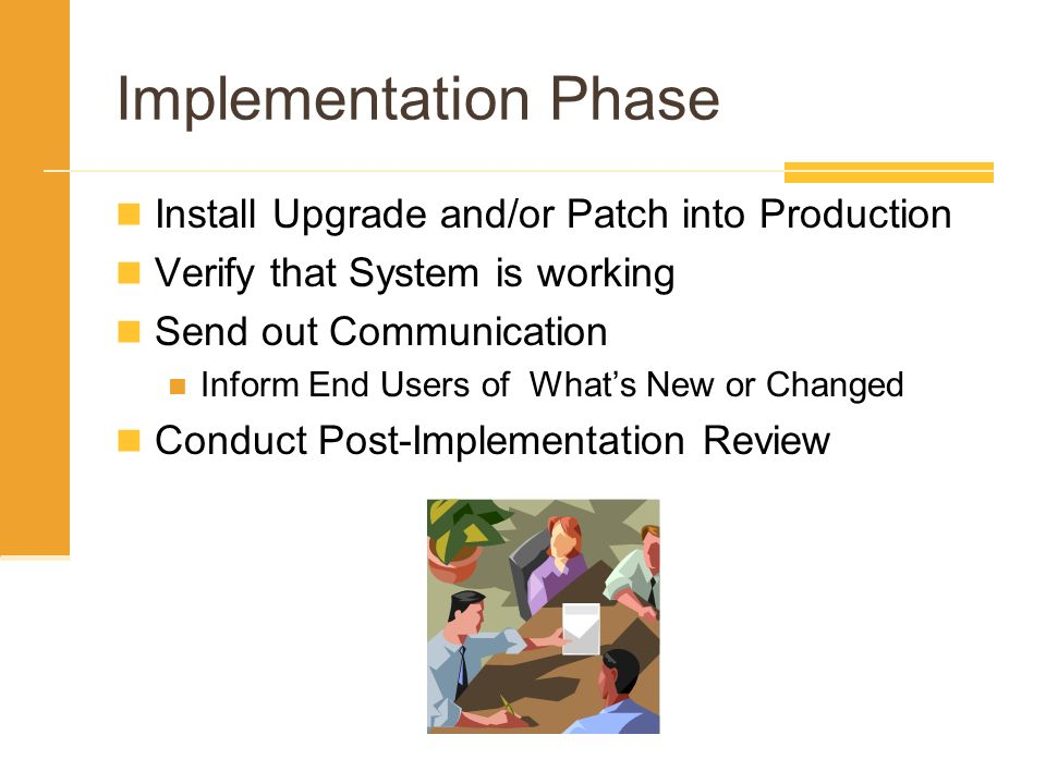 Implementation Phase Install Upgrade and/or Patch into Production