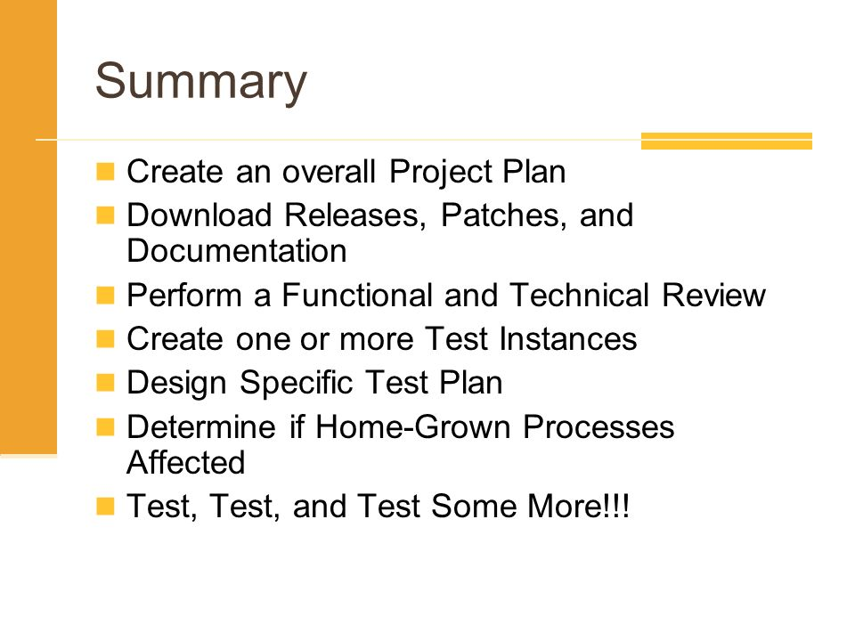 Summary Create an overall Project Plan