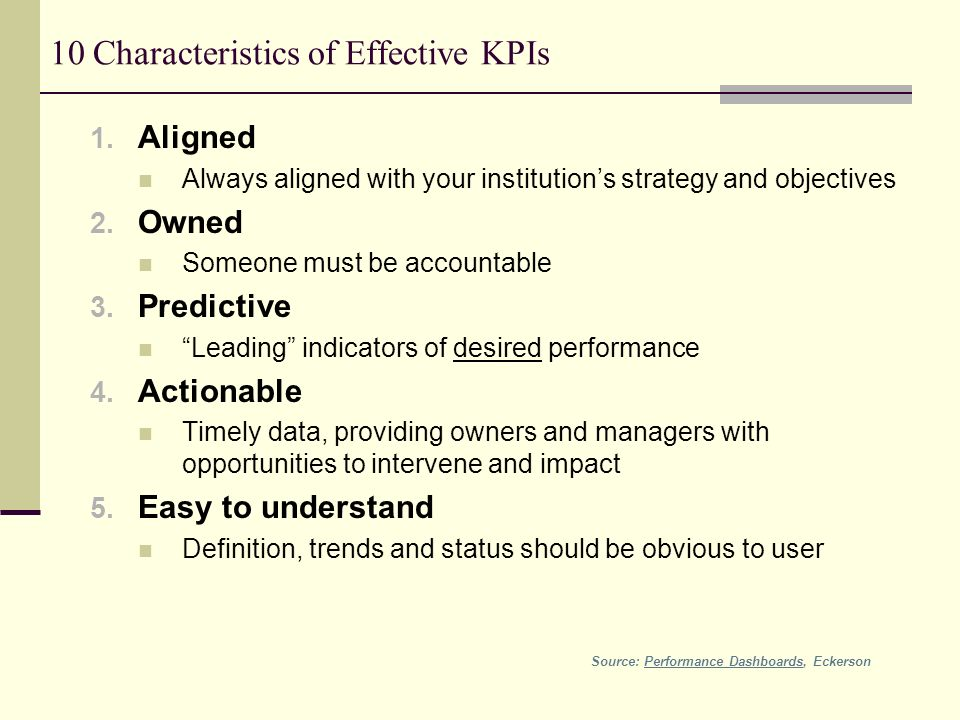 10 Characteristics of Effective KPIs