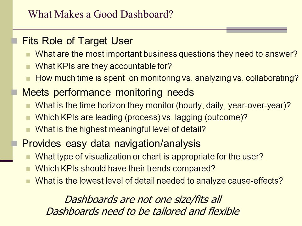 What Makes a Good Dashboard