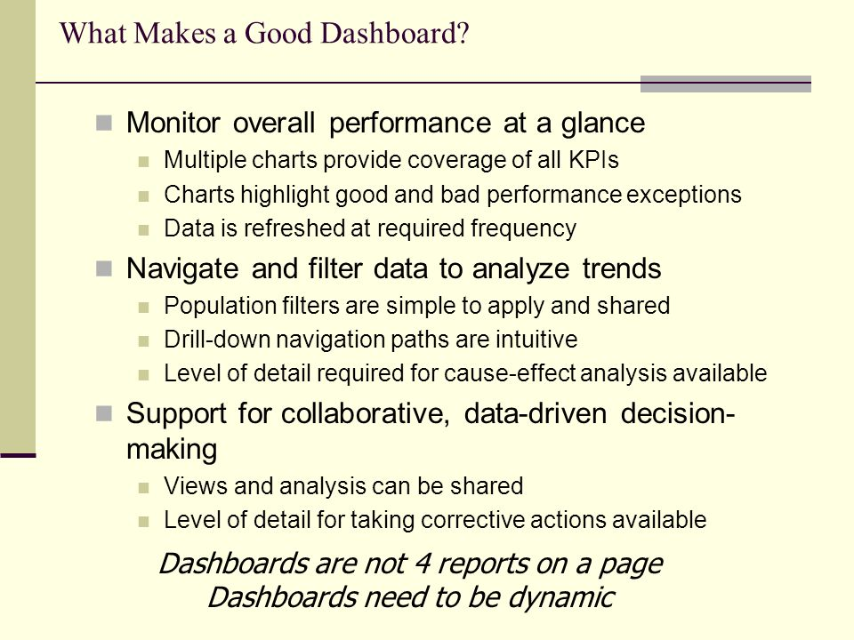 What Makes a Good Dashboard