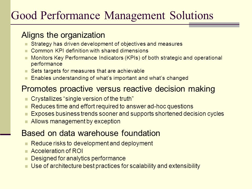 Good Performance Management Solutions
