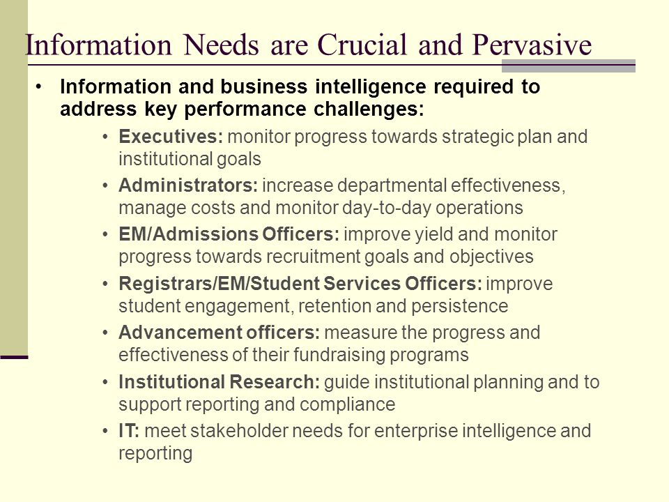 Information Needs are Crucial and Pervasive
