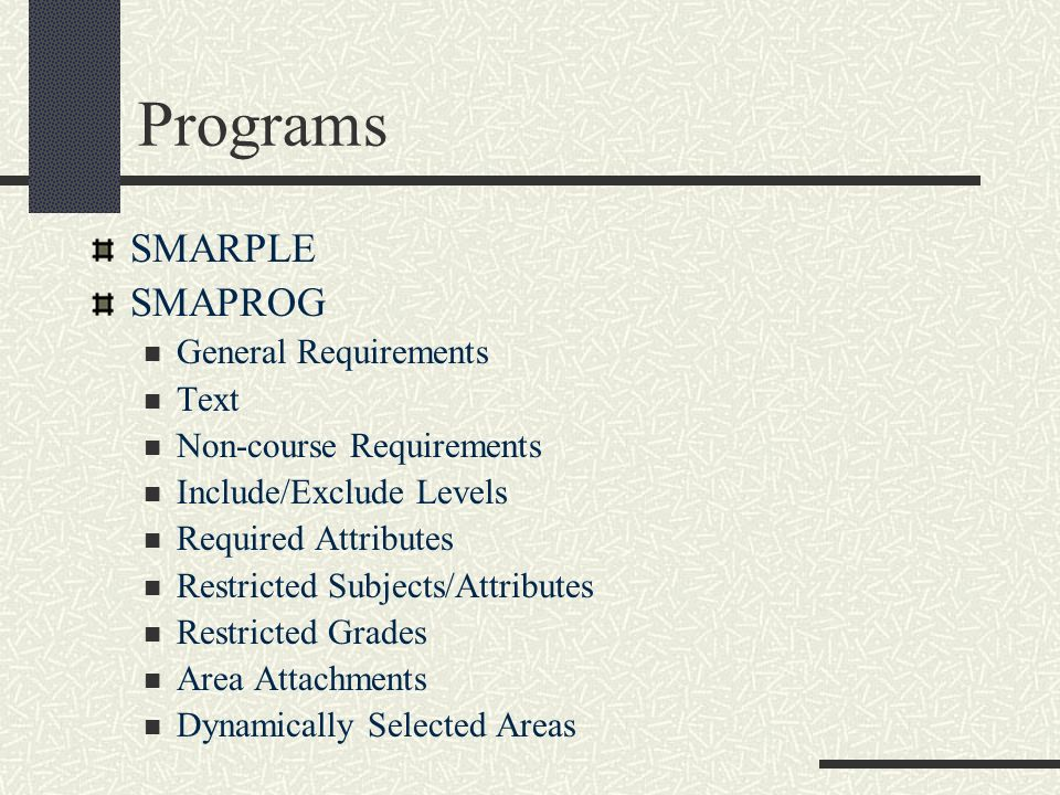 Programs SMARPLE SMAPROG General Requirements Text
