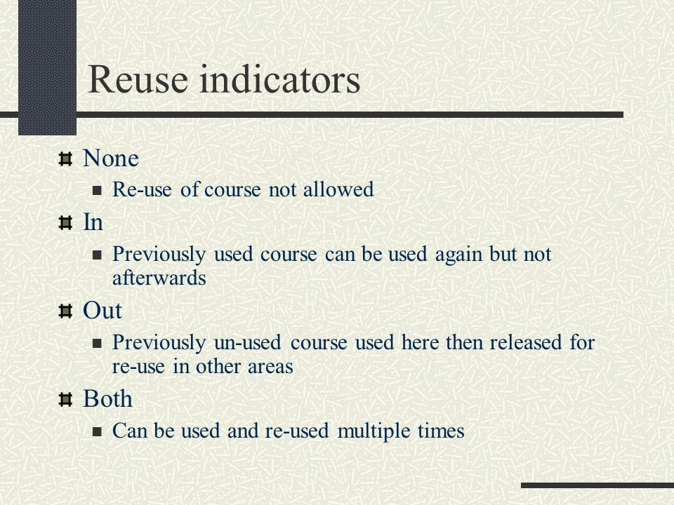 Reuse indicators None In Out Both Re-use of course not allowed