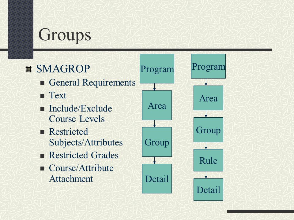 Groups SMAGROP Program Program General Requirements Text