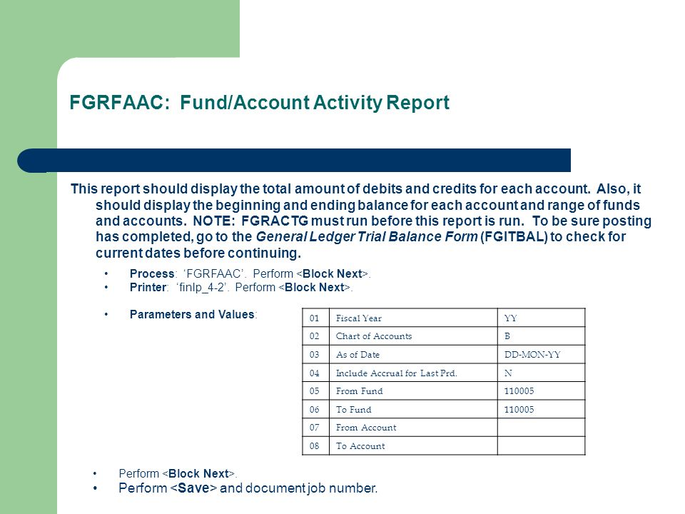FGRFAAC: Fund/Account Activity Report