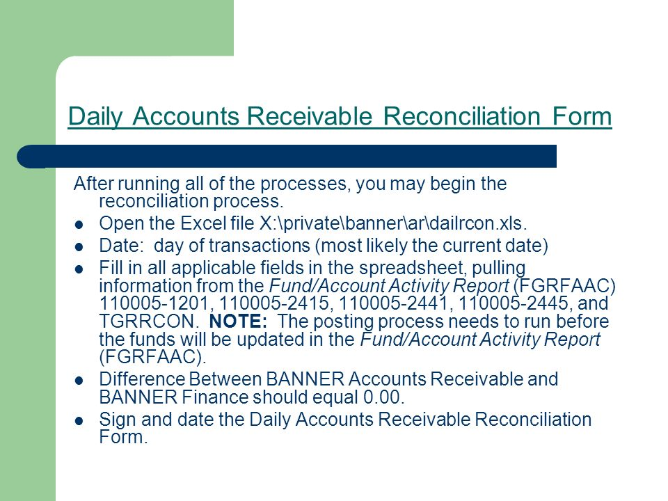 Daily Accounts Receivable Reconciliation Form