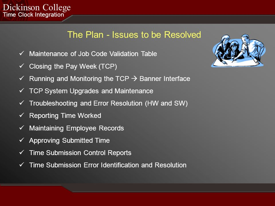 The Plan - Issues to be Resolved