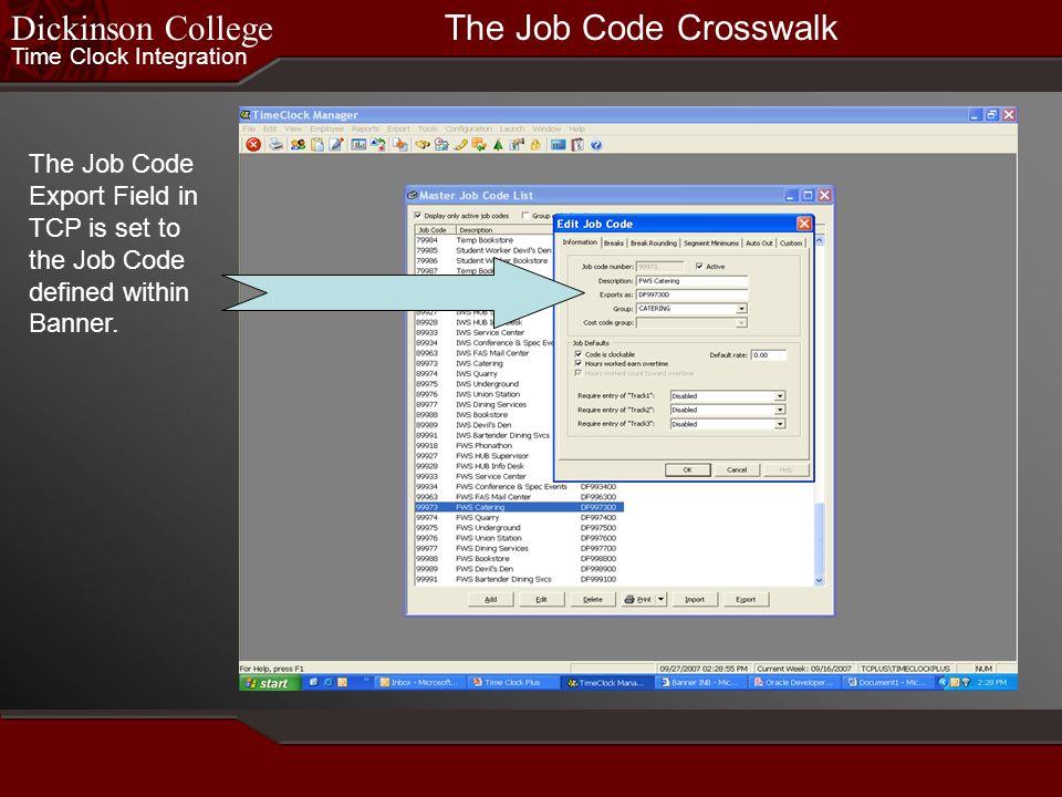 Dickinson College The Job Code Crosswalk