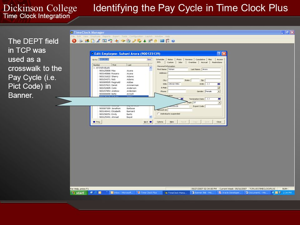 Identifying the Pay Cycle in Time Clock Plus