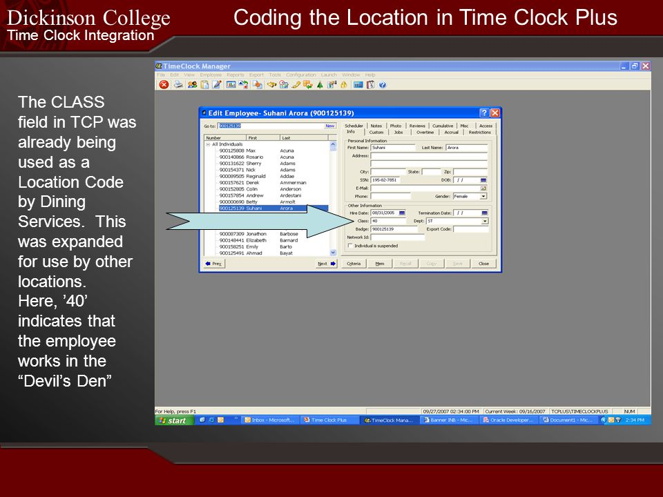 Coding the Location in Time Clock Plus