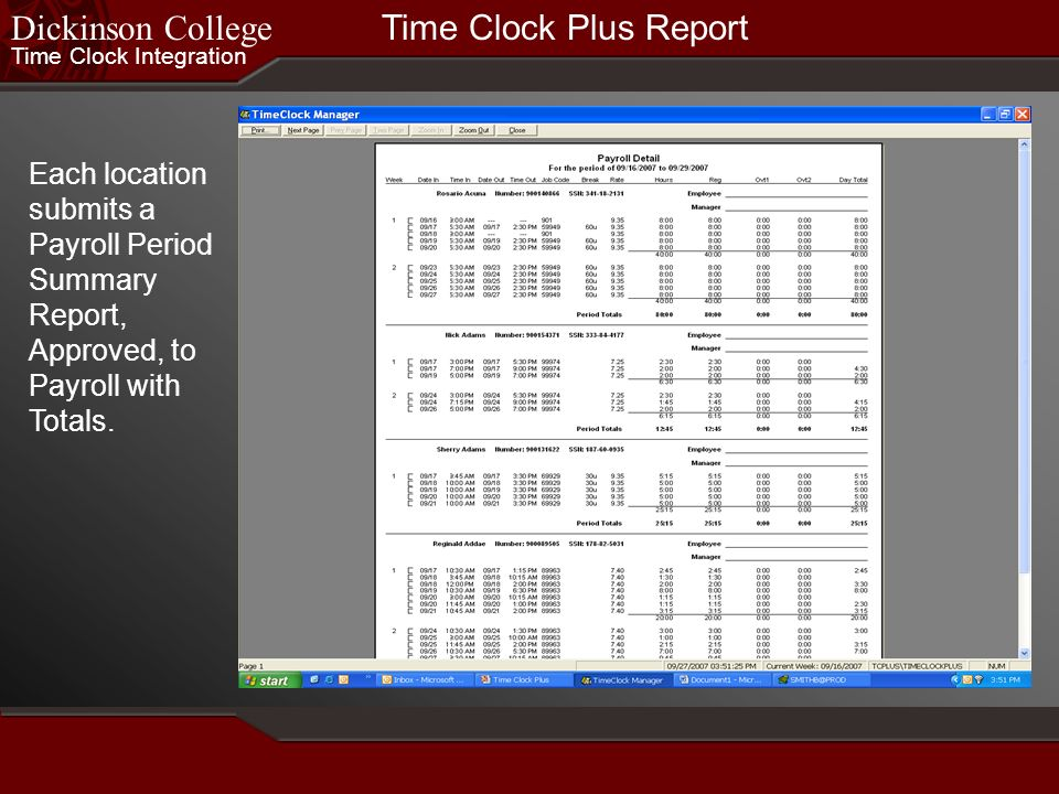 Dickinson College Time Clock Plus Report
