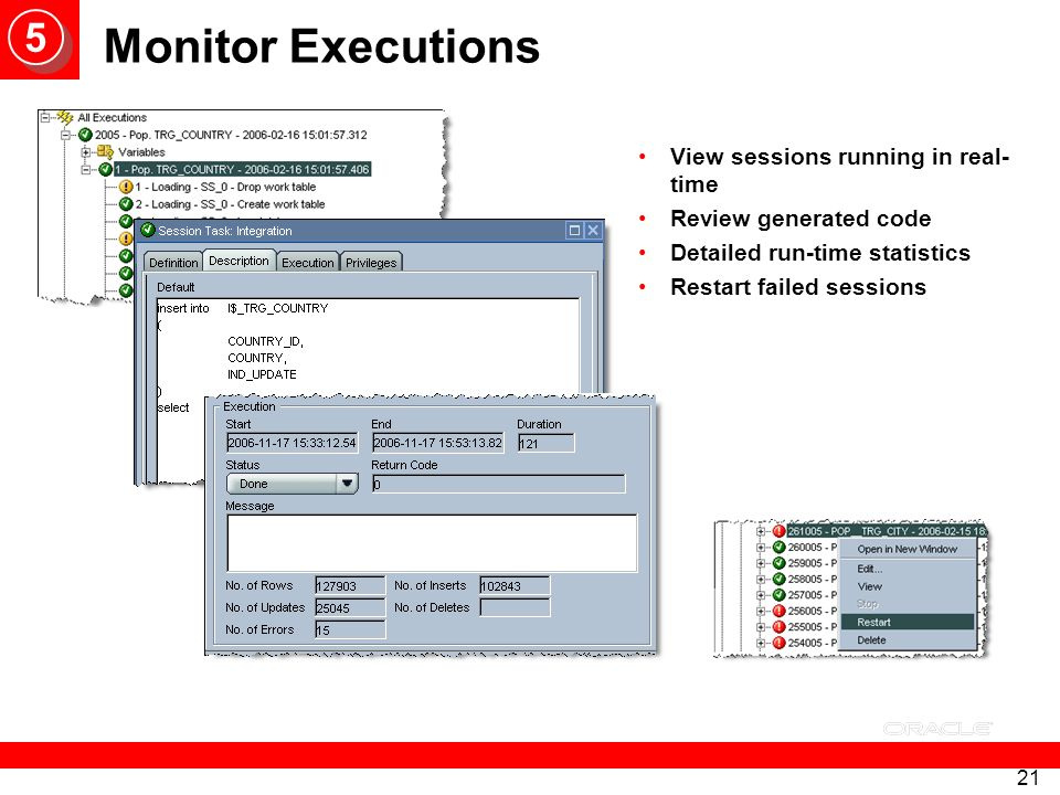 Monitor Executions 5 View sessions running in real-time
