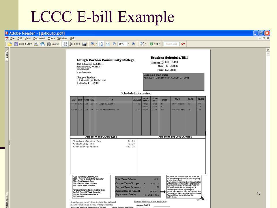 LCCC E-bill Example