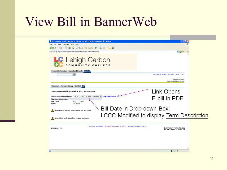 View Bill in BannerWeb Link Opens E-bill in PDF