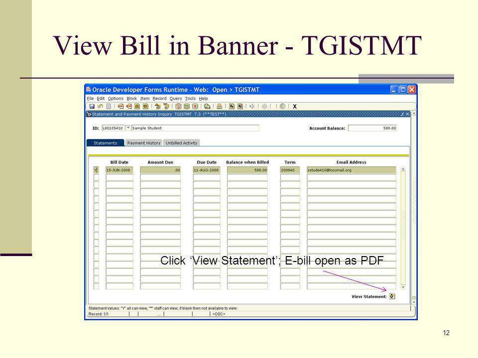 View Bill in Banner - TGISTMT