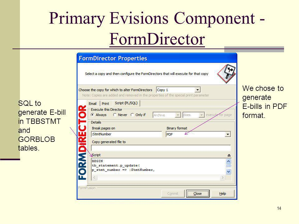 Primary Evisions Component - FormDirector