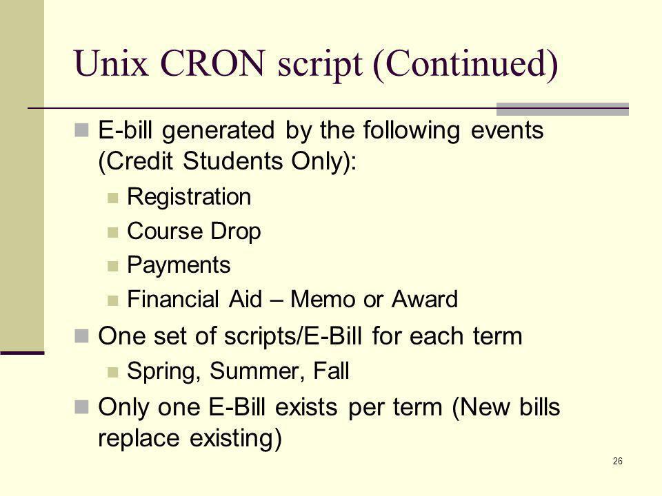 Unix CRON script (Continued)