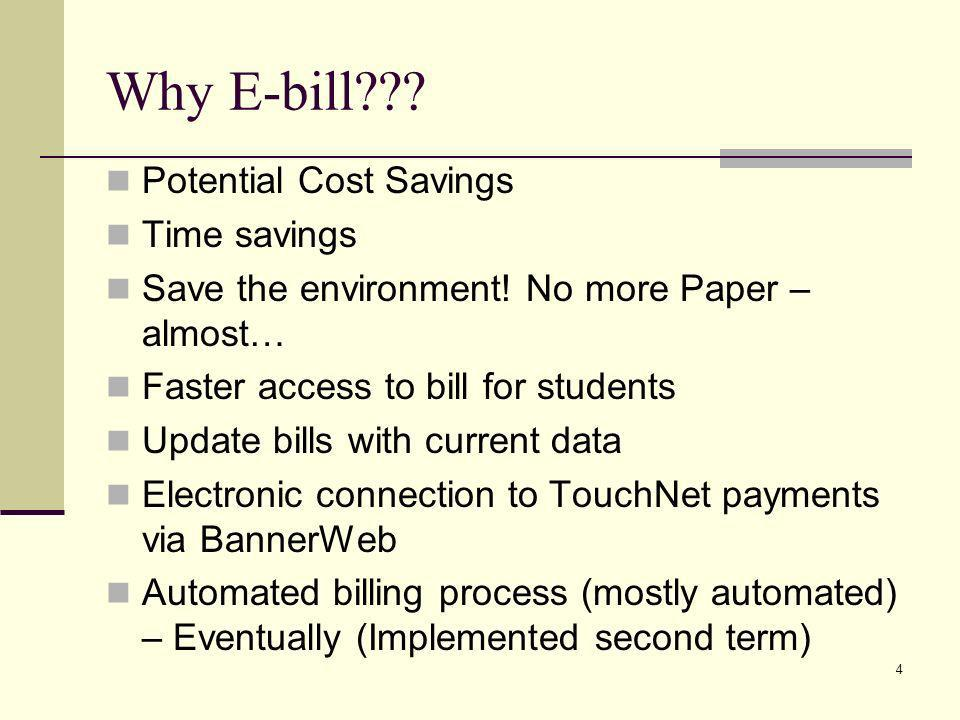 Why E-bill Potential Cost Savings Time savings
