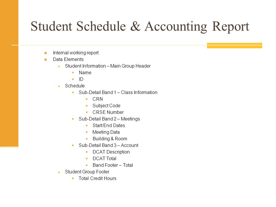 Student Schedule & Accounting Report