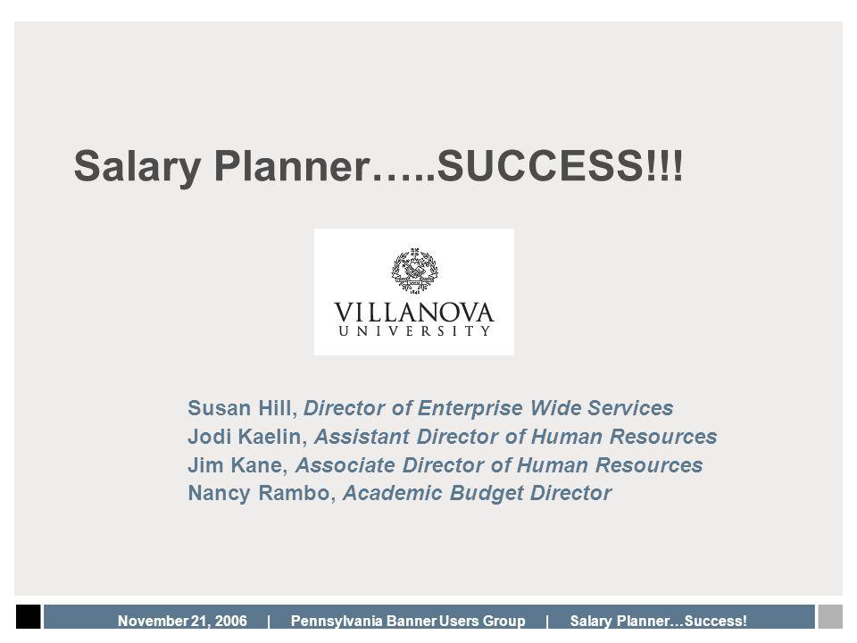 Salary Planner…..SUCCESS!!!