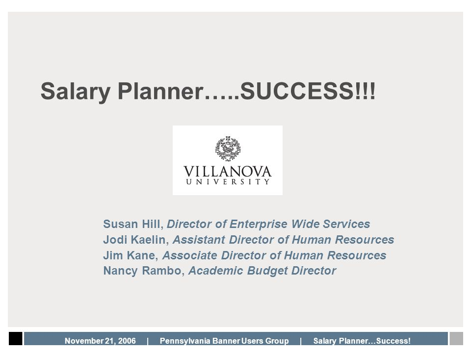 Salary Planner…..SUCCESS!!!
