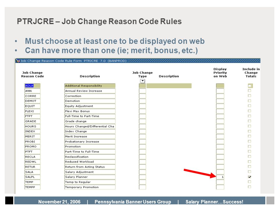 PTRJCRE – Job Change Reason Code Rules