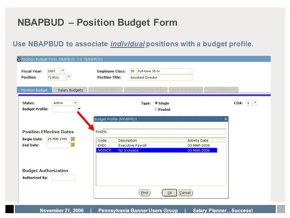 NBAPBUD – Position Budget Form