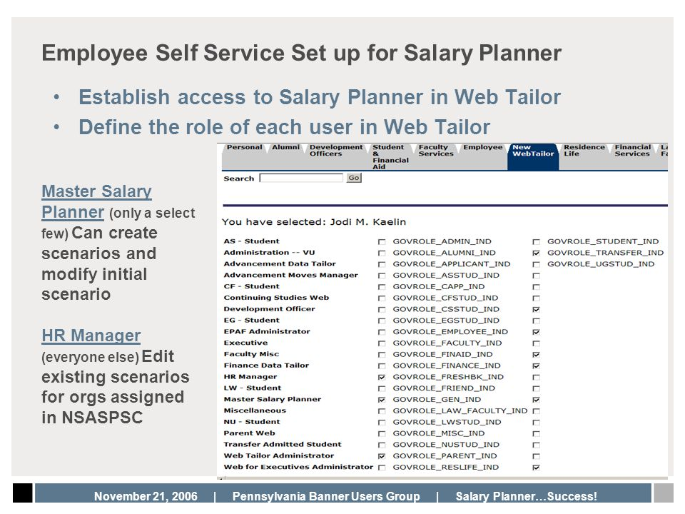 Employee Self Service Set up for Salary Planner