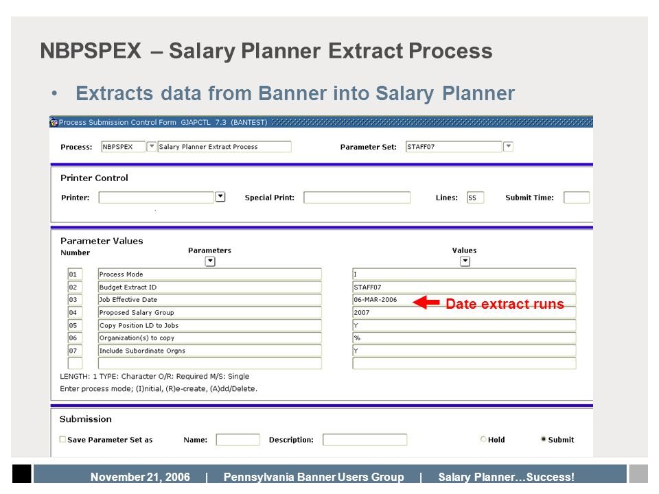 NBPSPEX – Salary Planner Extract Process