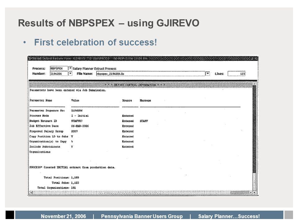 Results of NBPSPEX – using GJIREVO