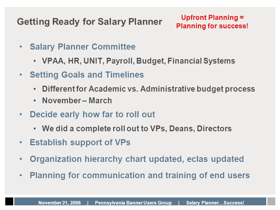 Getting Ready for Salary Planner