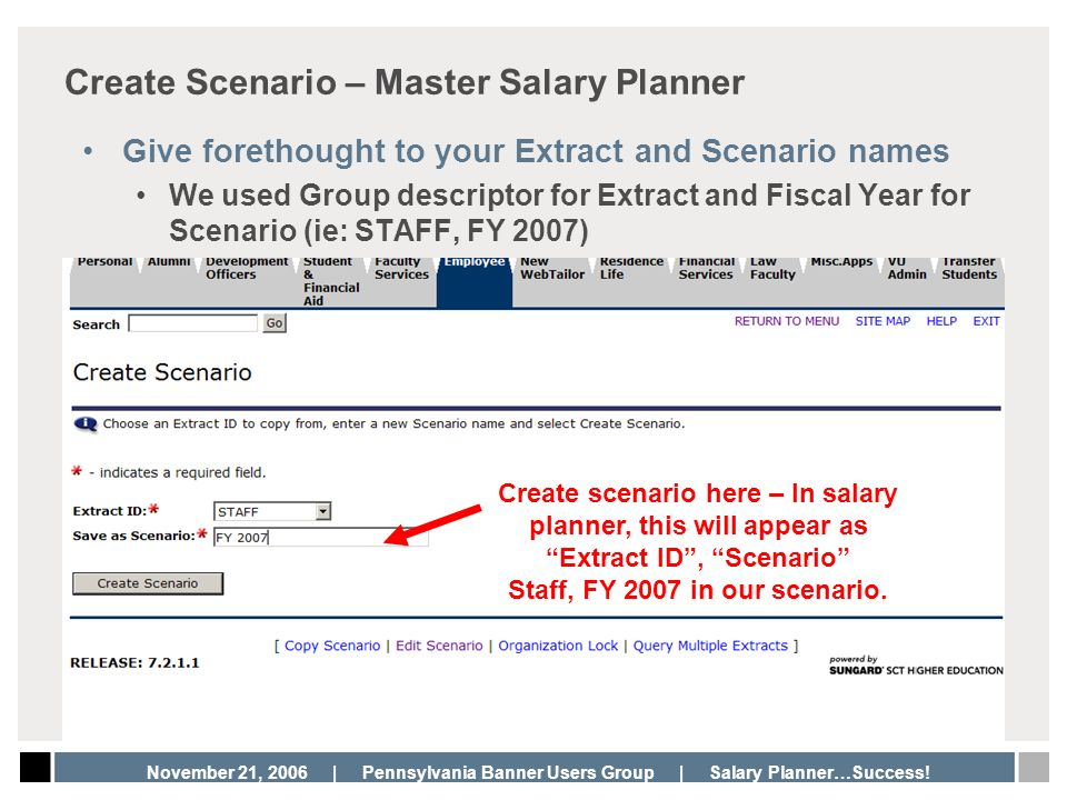 Create Scenario – Master Salary Planner