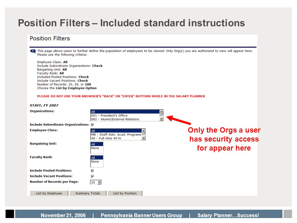 Position Filters – Included standard instructions