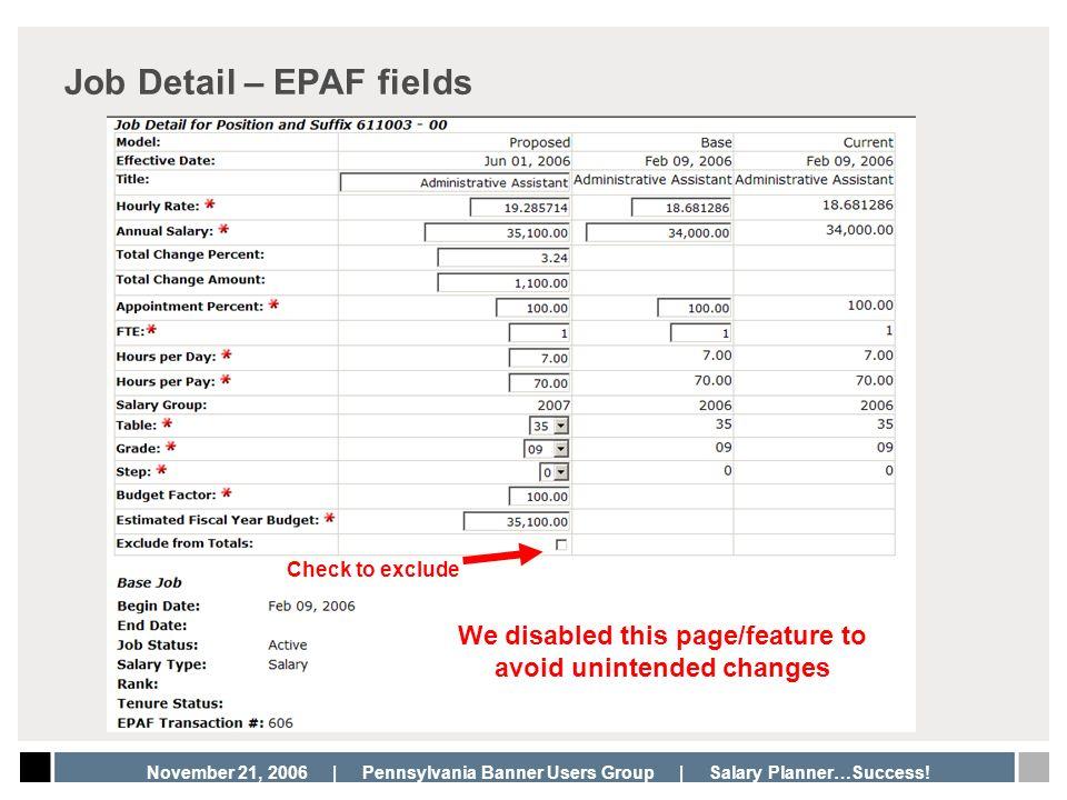 Job Detail – EPAF fields