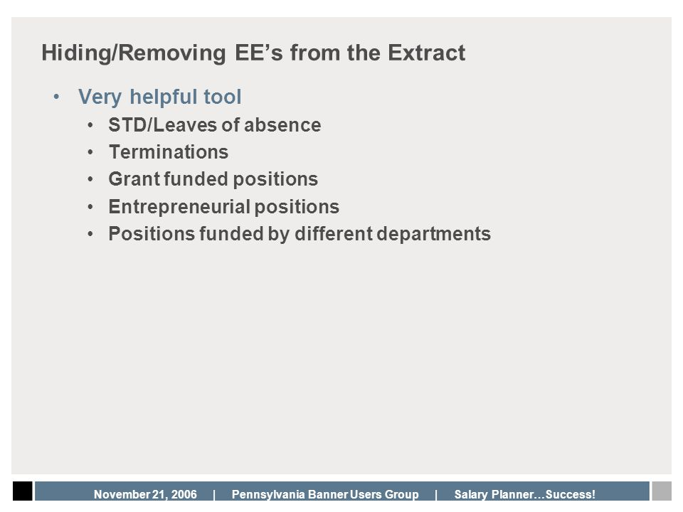 Hiding/Removing EE's from the Extract