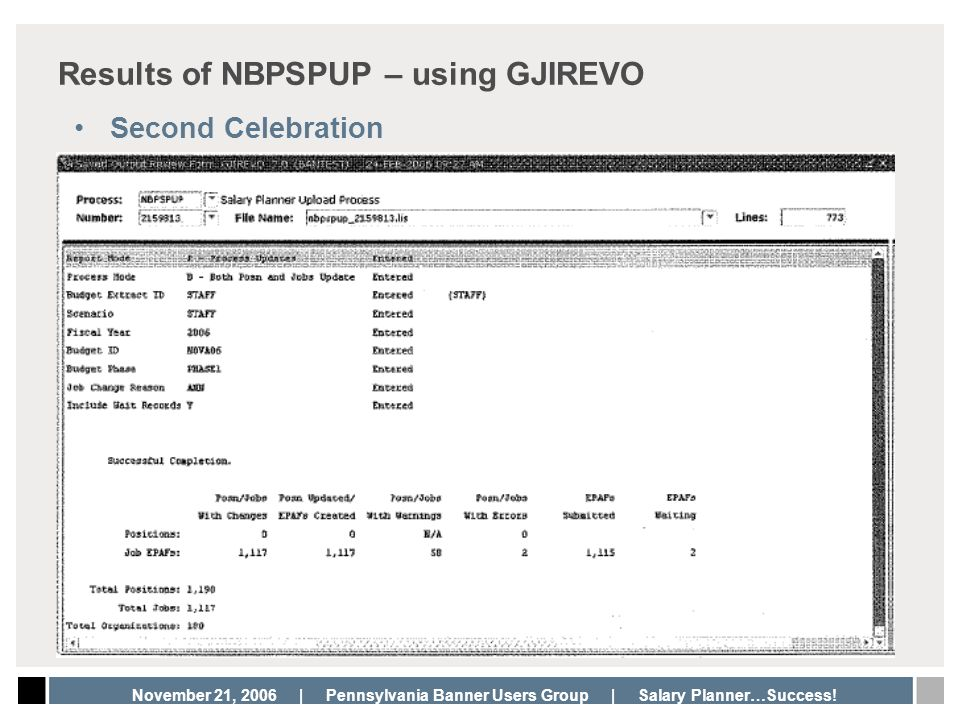 Results of NBPSPUP – using GJIREVO