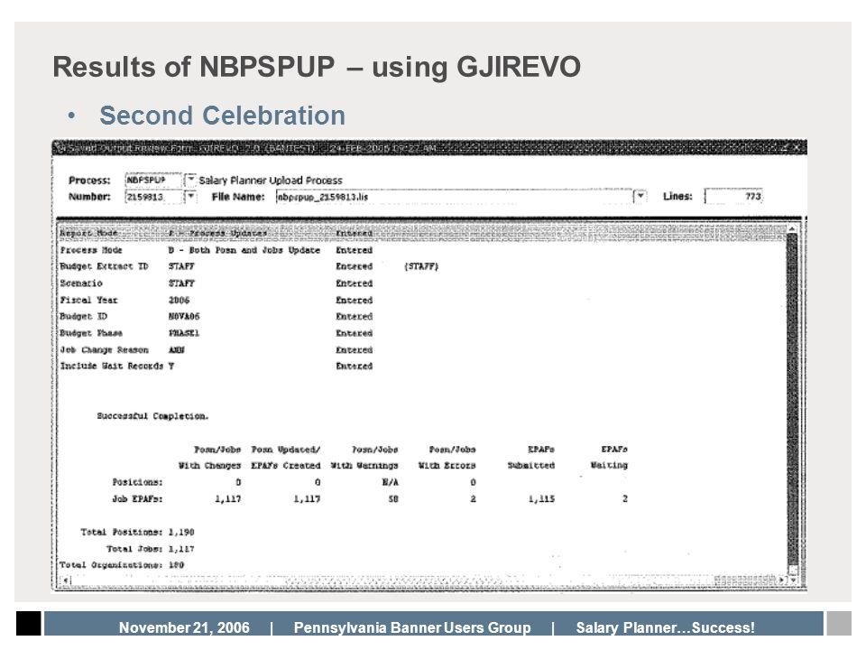 Results of NBPSPUP – using GJIREVO