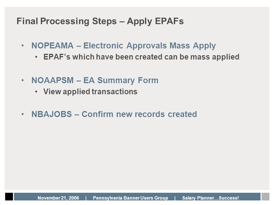Final Processing Steps – Apply EPAFs