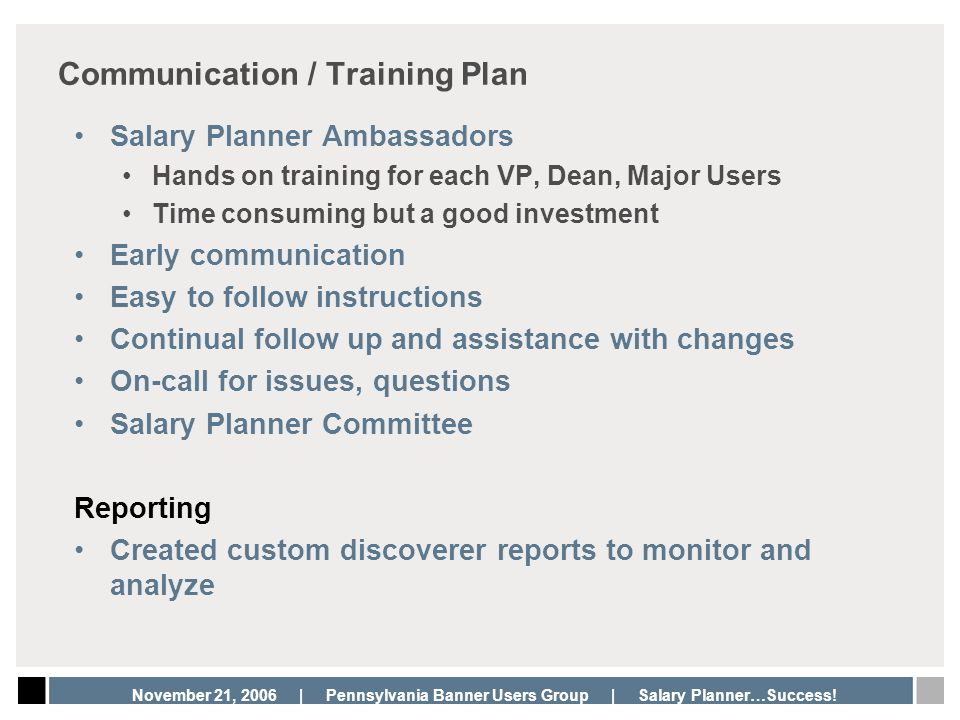 Communication / Training Plan