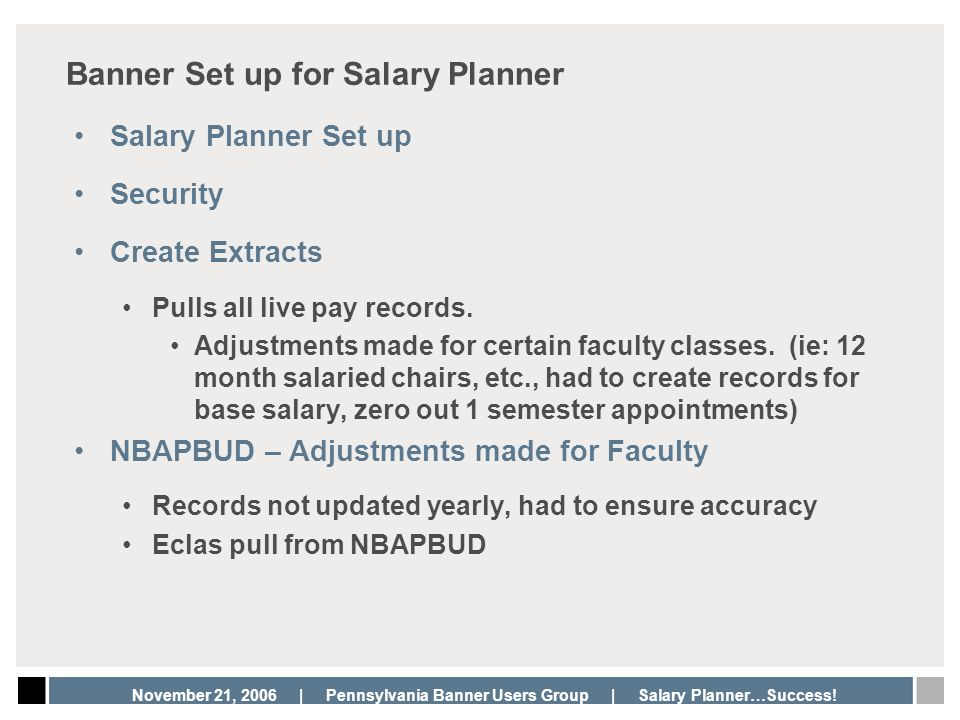 Banner Set up for Salary Planner