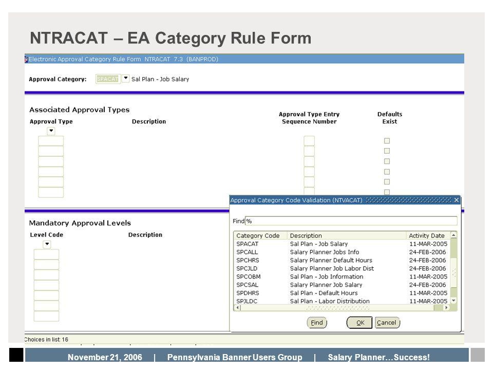 NTRACAT – EA Category Rule Form