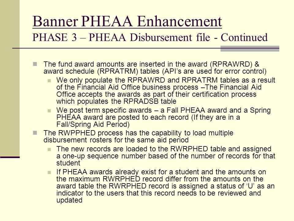 Banner PHEAA Enhancement PHASE 3 – PHEAA Disbursement file - Continued