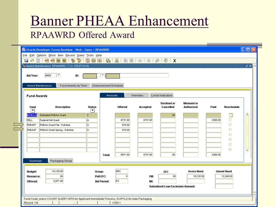 Banner PHEAA Enhancement RPAAWRD Offered Award