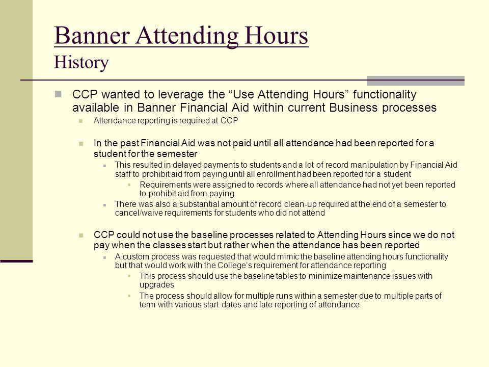 Banner Attending Hours History