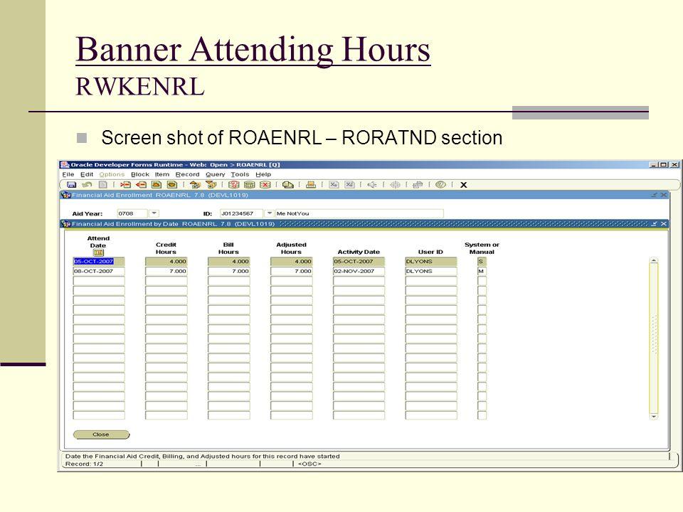 Banner Attending Hours RWKENRL