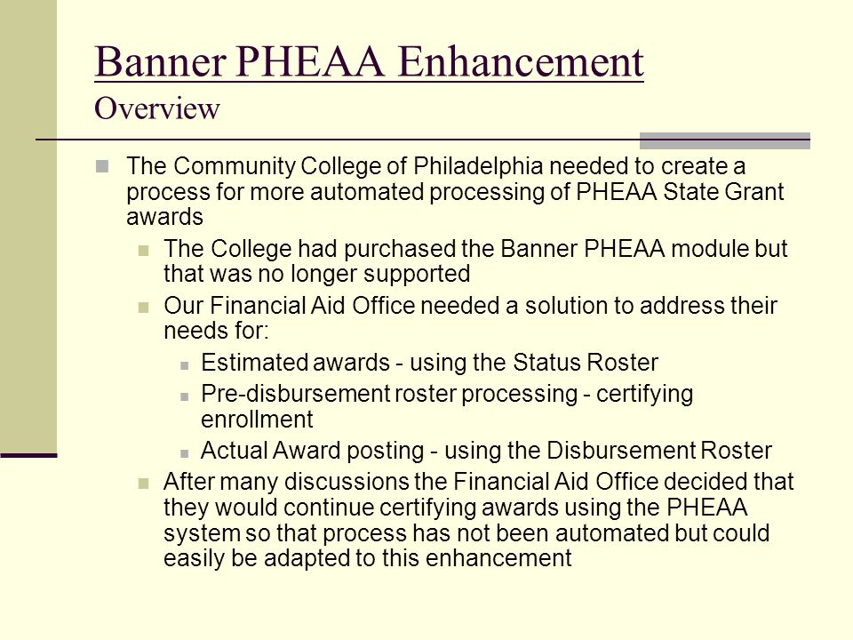 Banner PHEAA Enhancement Overview