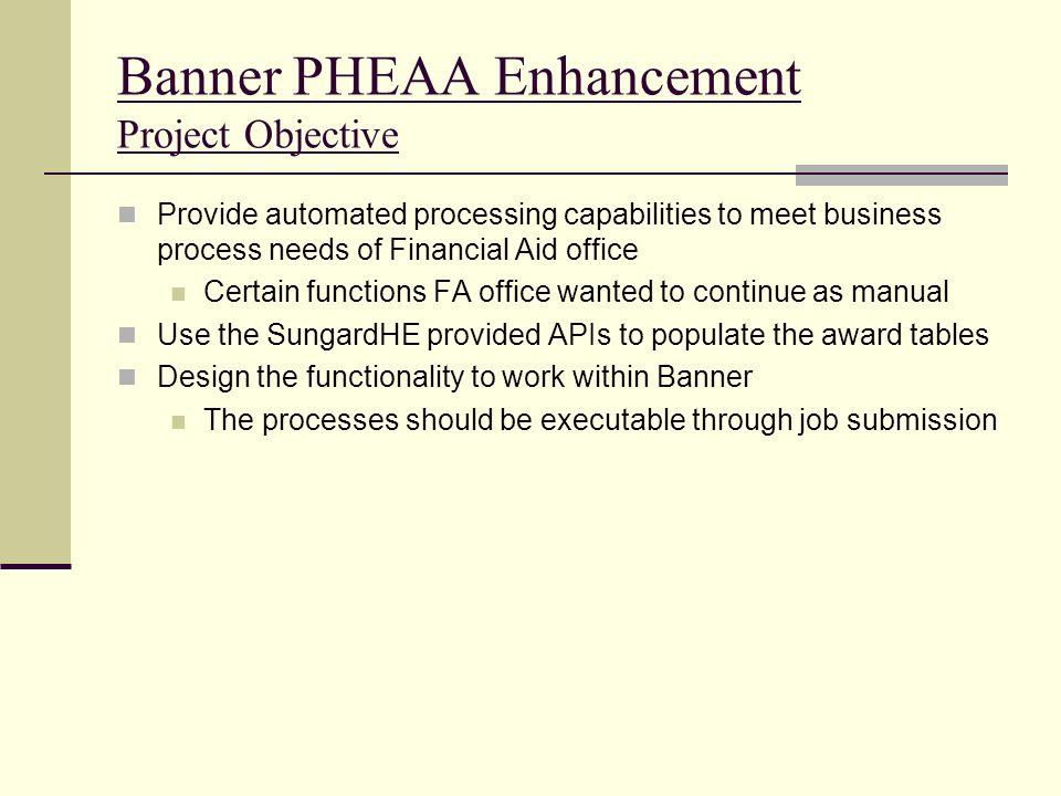Banner PHEAA Enhancement Project Objective