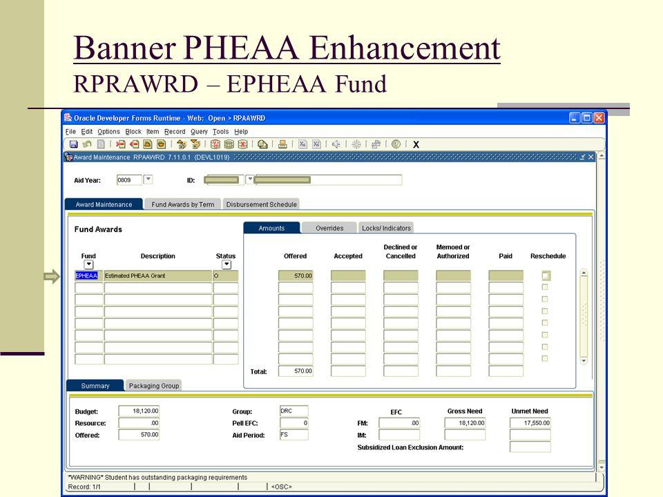 Banner PHEAA Enhancement RPRAWRD – EPHEAA Fund